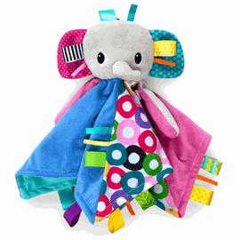 BRIGHT STARTS - Dečka maznacia s hlavou Cuddle'n Tag slon 35x35cm, 0m +, Slon