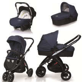 CASUALPLAY - Kočárek Kudu matt black, autosedačka Baby 0plus a vanička Metropol - Jeans (959)