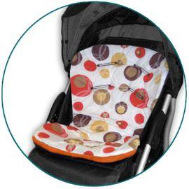 IVEMA BABY - Vložka do kočárku Uni Color - béžové bubliny / oranžová