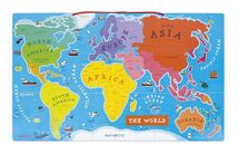 JANOD - J05504 Dřevěná magnetická mapa světa na zavěšení anglická verze