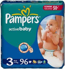 PAMPERS - Active Baby-Dry Plenky, velikost 3 (Midi), 4 - 9 kg, 96 kusů + při koupi 2 balení Zdarma vlhčené ubrousky