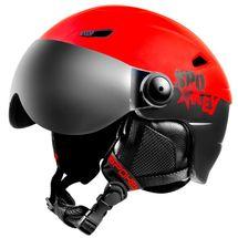 SPOKEY - JASPER lyžařská přilba s vyměnitelným čelním sklem, černo-červená, vel. L/XL