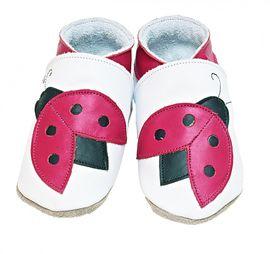 Starchild - Kožené botičky - Ladybug White - velikost XL (18-24 měsíců)