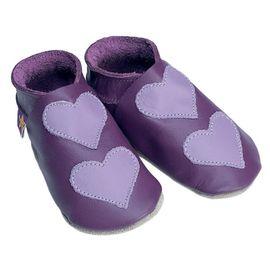 Starchild - Kožené botičky - Lovehearts Grape / mauve - velikost L (12-18 měsíců)