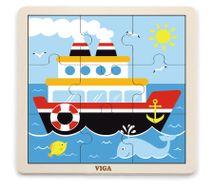 VIGA - Dřevěné puzzle loď 9ks