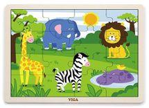 VIGA - Dřevěné puzzle safari 16ks