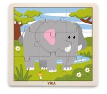 VIGA - Dřevěné puzzle slon 9ks