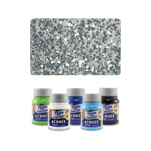 ACR - ACR Farba na textil 37ml, glitter silver