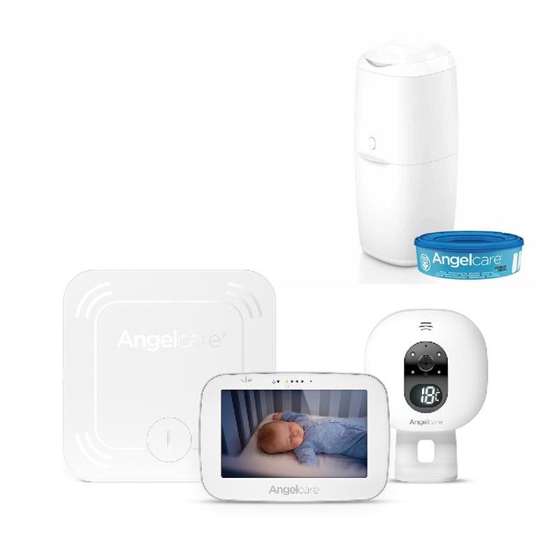 ANGELCARE - AC527 Monitor pohybu dechu a el. video chůvička + koš na pleny Classic