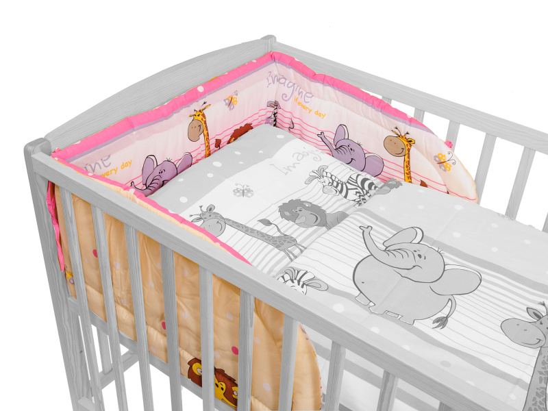 ANTONY FASHION - Mantinel do dětské postýlky - ZOO růžový