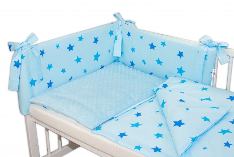 BABY NELLYS - 3-dílná sada mantinel s povlečením Minky Baby Stars - sv. modrá, K19