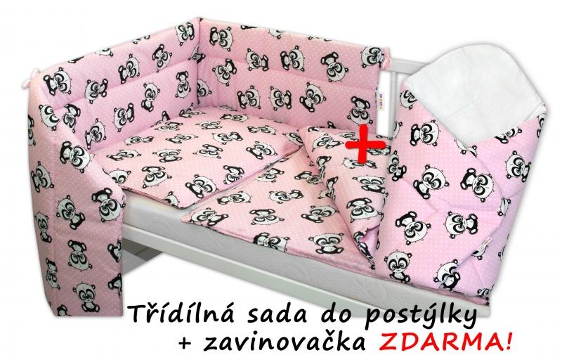 BABY NELLYS - 3-dílná sada mantinel s povlečením + zavinovačka zdarma - Baby Panda, růžová, D19