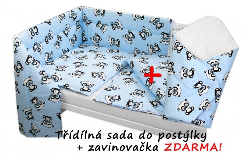 BABY NELLYS - 3-dílná sada mantinel s povlečením + zavinovačka zdarma - Baby Panda, modrá, D19