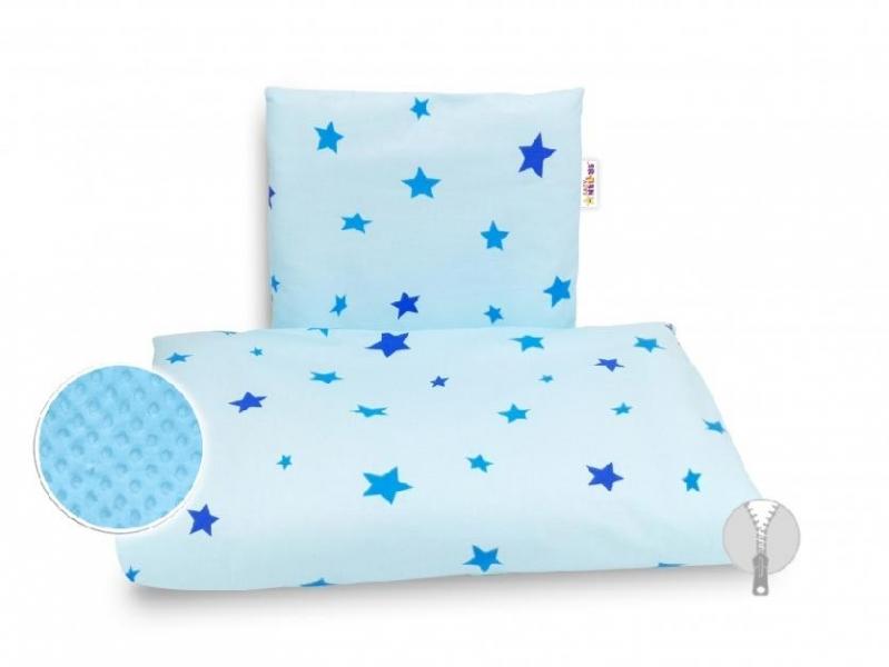 BABY NELLYS - 4-dílná sada do kočárku Minky, - Hvězdičky modré