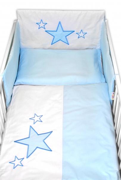 BABY NELLYS - 5-dílná sada do postýlky Baby Stars - modrá, velikost 135x100 cm