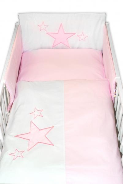 BABY NELLYS - 5-dílná sada do postýlky Baby Stars - růžová, velikost 135x100 cm