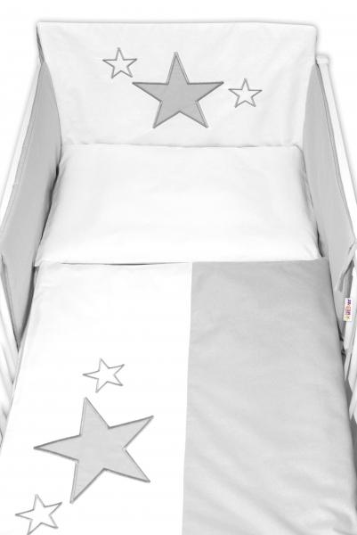 BABY NELLYS - 5-dílná sada do postýlky Baby Stars - šedá, velikost 135x100cm