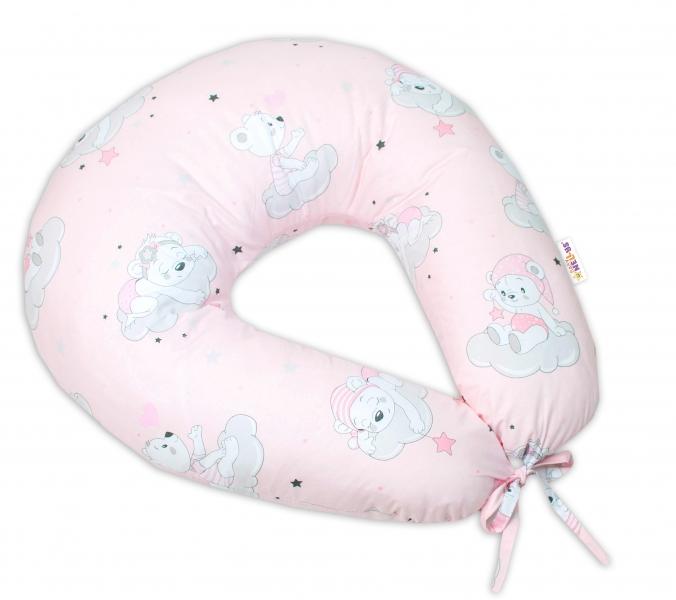 BABY NELLYS - Bavlněný kojící polštář, Mráček - růžová