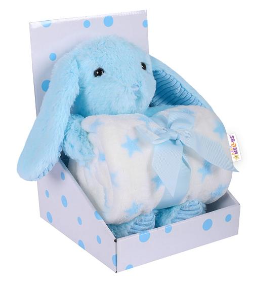 BABY NELLYS - Dětská sada deka + plyšová hračka Králíček - modrá