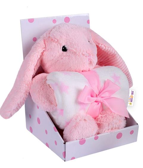 BABY NELLYS - Dětská sada deka + plyšová hračka Králíček - růžová