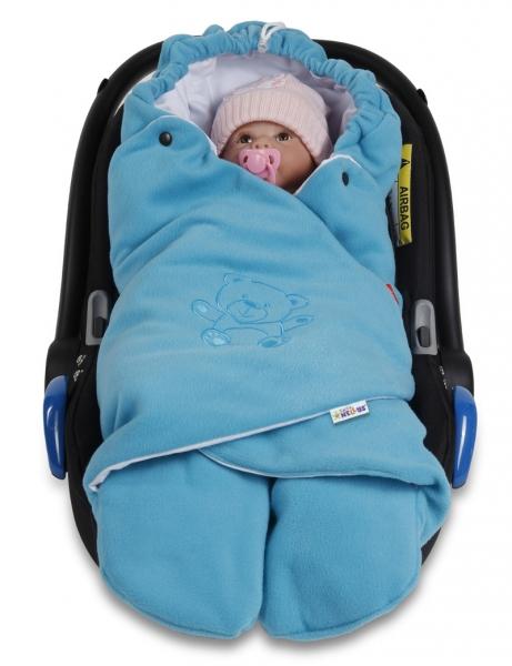 BABY NELLYS - Dětská zavinovačka, fusák polar, bio bavlna - modrá/tyrkysová