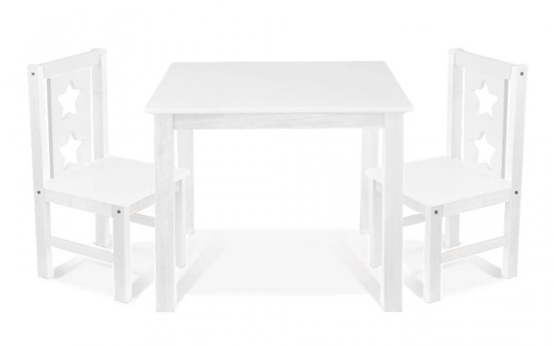 BABY NELLYS - Dětský nábytek - 3 ks, stůl s židličkami - bílá, C/07