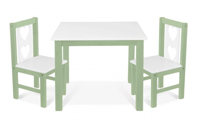 BABY NELLYS - Dětský nábytek - stůl s židličkami - zelená , bílá