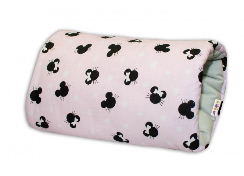 BABY NELLYS - Bavlněný kojící polštář na ruku - Minnie, růžová/šedá