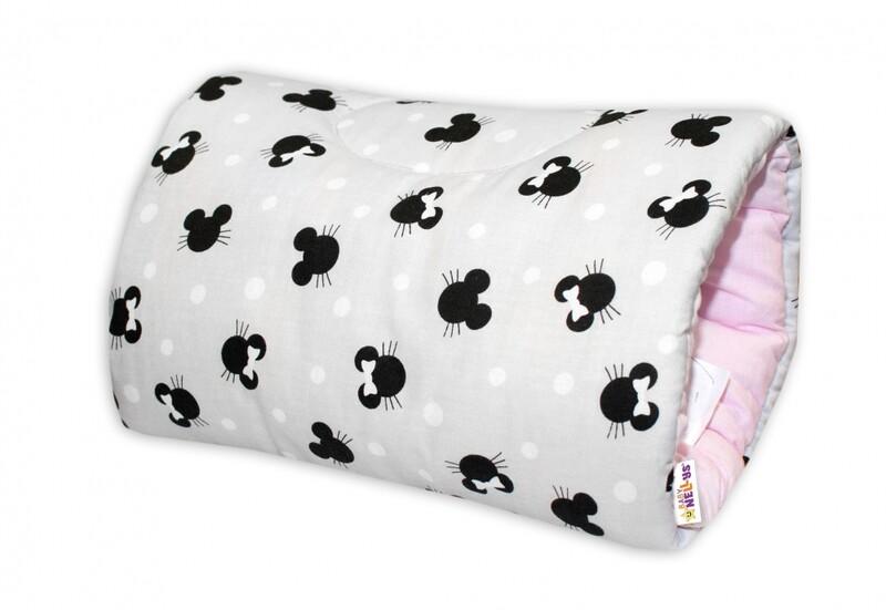 BABY NELLYS - Bavlněný kojící polštář na ruku - Minnie, růžová / šedá