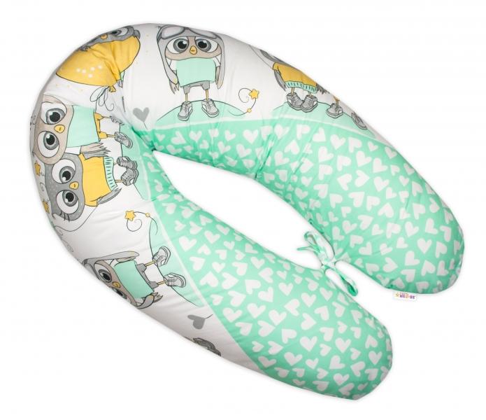 BABY NELLYS - Kojící polštář - relaxační poduška Multi Cute Owls - zelený