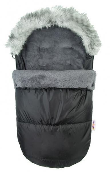 BABY NELLYS - Fusák Delux ® s kožešinkou 105x50cm - černý