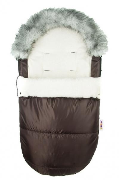 BABY NELLYS - Fusák Delux ® s kožešinkou 105x50cm - hnědý