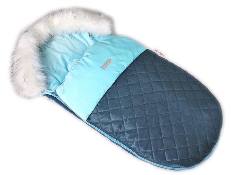 BABY NELLYS - Fusák, spacáček 105x55 Velvet exkluziv prošívaný - modrý