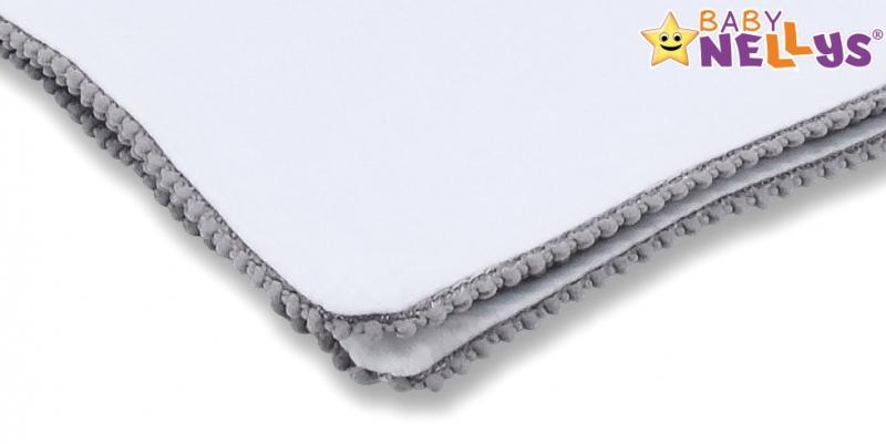BABY NELLYS - Letní deka s mini bambulkami, jersey, 100 x 75 cm - bílá/šedý lem