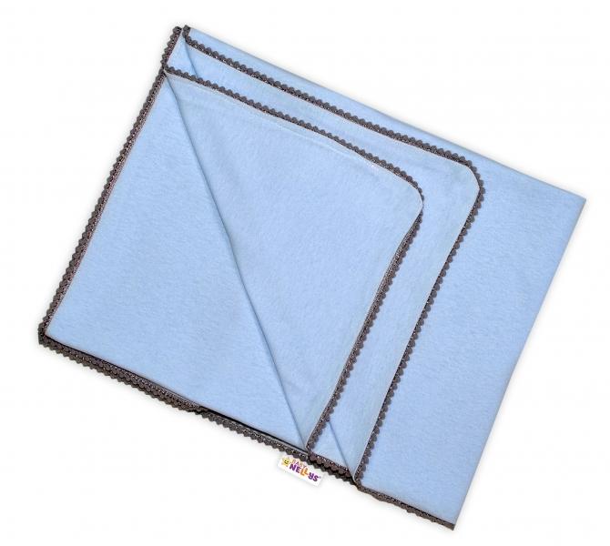 BABY NELLYS - Letní deka s mini bambulkami, jersey, 100 x 75 cm - sv. modrá/šedý lem