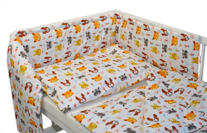 BABY NELLYS - Mantinel s povlečením 135x100 - Forest - bílé