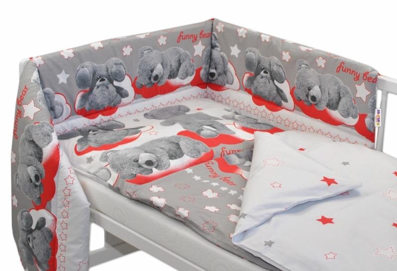 BABY NELLYS - Mantinel s povlečením 135x100 cm, Medvídek hvězdička - šedý s červenou