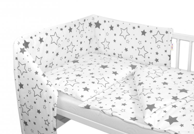 BABY NELLYS - 3-dílná sada - mantinel s povlečením - Šedé hvězdy a hvězdičky - bílý