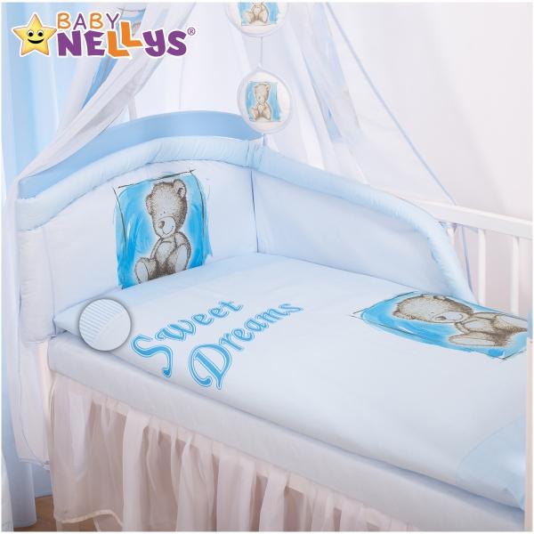 BABY NELLYS - Mantinel s povlečením Sweet Dreams by Teddy - modrý