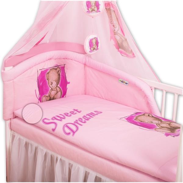BABY NELLYS - Mantinel s povlečením Sweet Dreams by Teddy - růžový