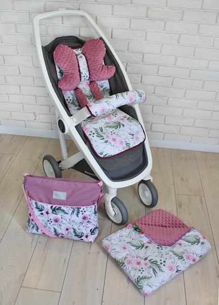 BABY NELLYS - Mega sada do kočárku s taškou + dečka - Květinky/flowers - vínová