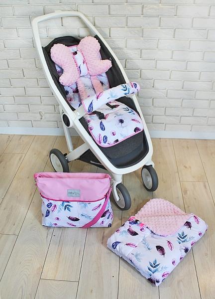 BABY NELLYS - Mega sada do kočárku s taškou + dečka - Listy - růžová