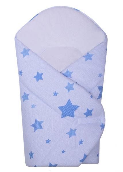 BABY NELLYS - Novorozenecká zavinovačka Hvězda z úpletu - modrá