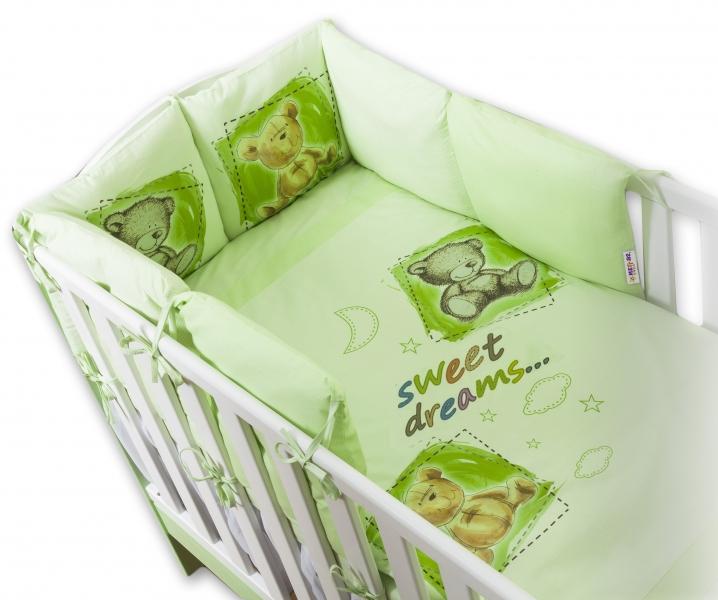 BABY NELLYS - Povlečení s polštářkovým mantinelem Sweet Dreams by TEDDY - zelený