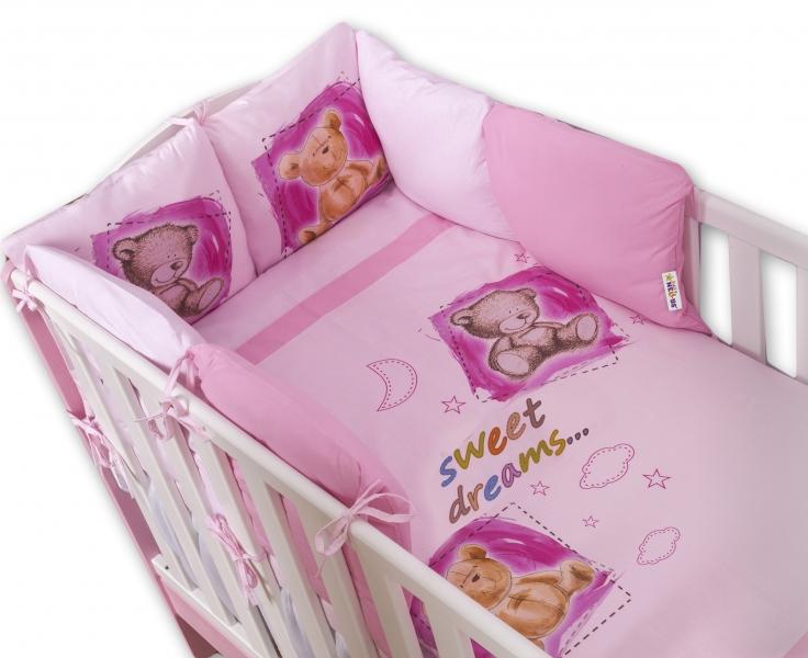 BABY NELLYS - Povlečení s polštářkovým mantinelem Sweet Dreams by TEDDY - růžový