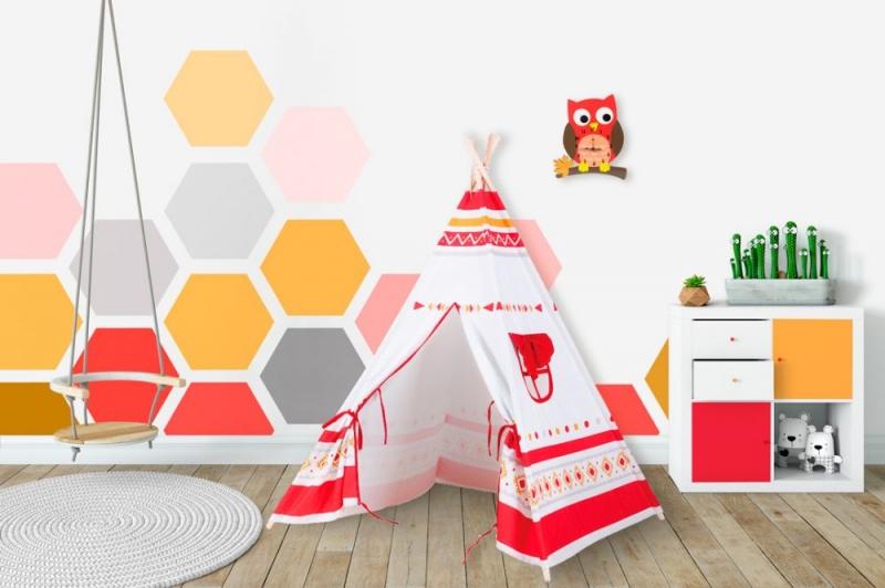 BABY NELLYS - Stan pro děti teepee, týpí - bilý,červený