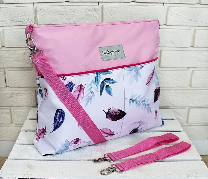BABY NELLYS - Stylová taška na kočárek Hand Made - Listy - růžová