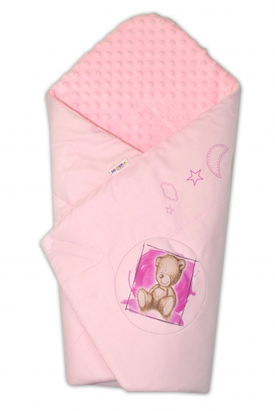 BABY NELLYS - Zavinovačka, bavlněná s minky 75x75cm by Teddy - sv. růžová, sv. růžová
