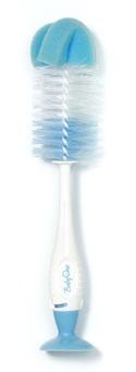 BABY ONO - Kartáč na čištění lahví a dudlíků 2v1 s přísavkou - Modrá