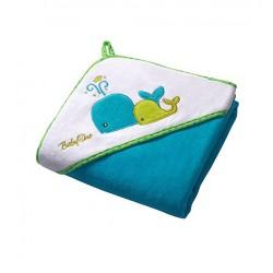 BABY ONO - Osuška s kapucí Velour 100x100 - blue